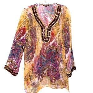 Adrienne Vittadini Semi Sheer Embellished Blouse